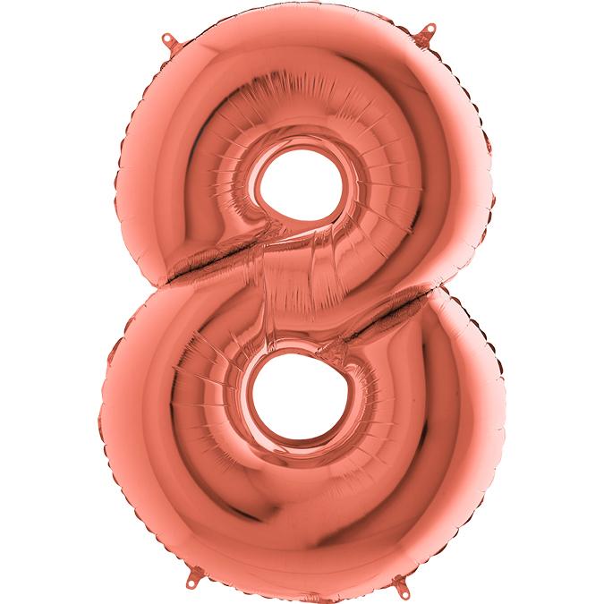 Цифра Розовое золото 8