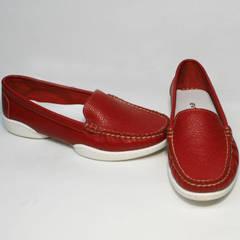 Женские кожаные туфли мокасины летние Evromoda 042.5710 WRed.