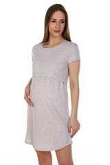 Мамаландия. Сорочка для беременных и кормящих с горизонтальным секретом, серый/горох