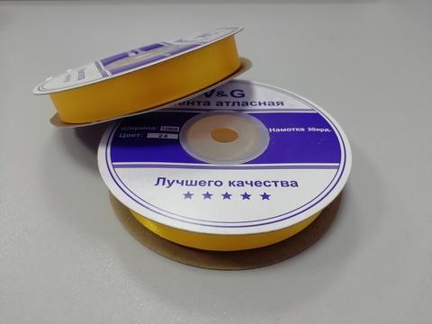 Лента атласная Желтая 12 мм, 27м