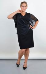 Аліна. Плаття на свято для повних жінок. Чорний.