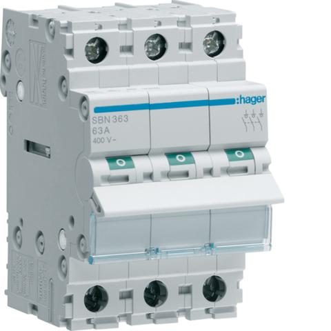 Выключатель-разъединитель (рубильник), 3P, Ie=63A 400В 50/60Гц, AC22A, Ui=500В, ширина 3M; арт. SBN363