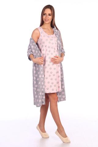 Мамаландия. Комплект для беременных и кормящих халат и сорочка, лапки/серый