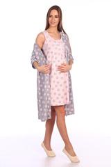 Мамаландия. Комплект для беременных и кормящих халат и сорочка, лапки/серый вид 1