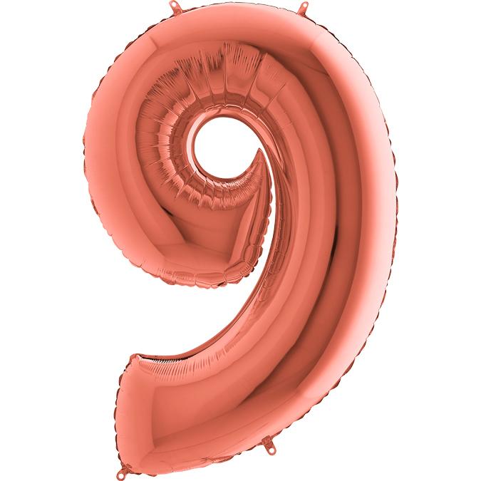 Цифра Розовое золото 9