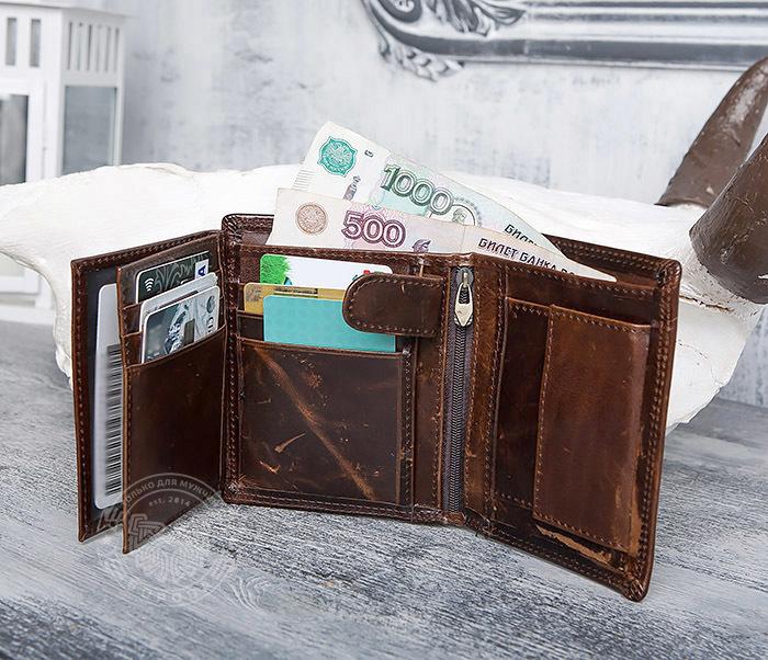WL275-2 Мужской кошелек из гладкой натуральной кожи фото 09