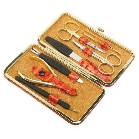 Маникюрный набор GD, 7 предметов, цвет оранжевый, кожаный футляр