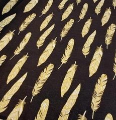 Поплин глиттер (100%  хлопок). Золотые перья на черном.