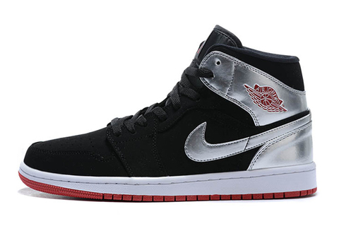 Air Jordan 1 Mid 'Black'Metallic Silver'