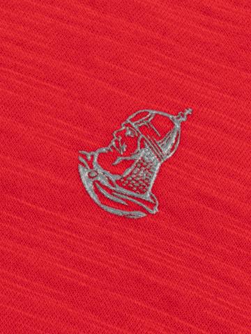 Мужская футболка «Великоросс» алого цвета V ворот
