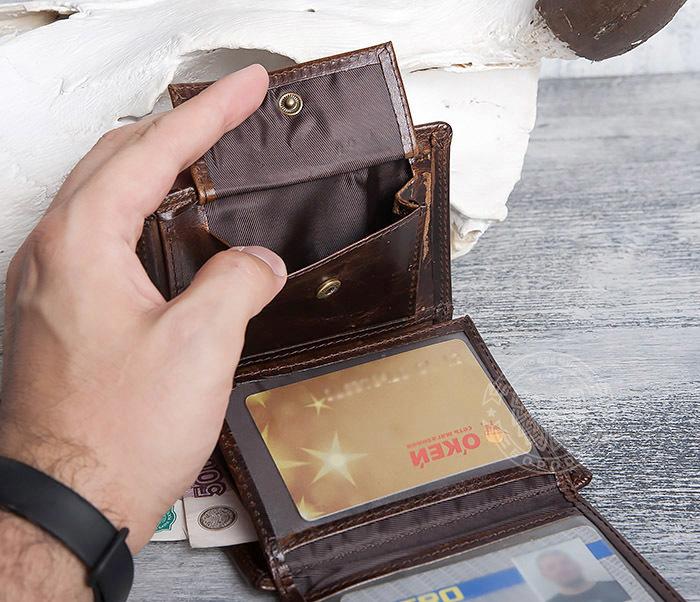 WL275-2 Мужской кошелек из гладкой натуральной кожи фото 10
