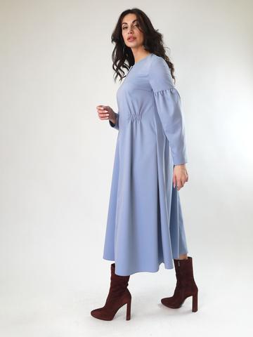 Платье А-силуэта приталенное с рукавами фонариками