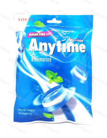Карамель леденцовая Anytime Bluemarine, Lotte, Корея, 74 гр.