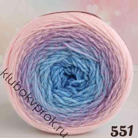 YARNART FLOWERS MERINO 551, Голубой/фиолетовый/розовый