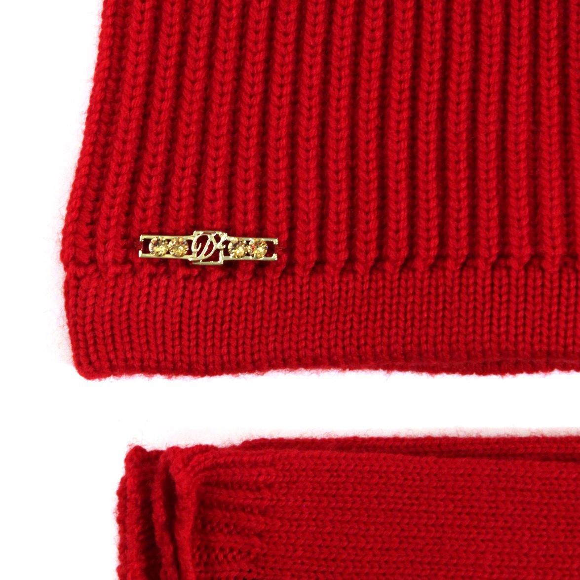 Комплект шапка и перчатки. Цвет красный/черный/серый DSQUARED2
