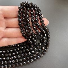 Бусины турмалин черный А+ граненый 6,4 мм