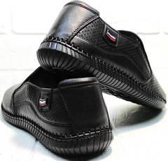 Мужские кожаные слипоны туфли летние бизнес кэжуал для мужчин Ridge Z-291-80 All Black.