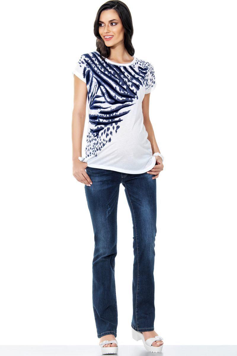 Фото джинсы для беременных EBRU, расклешенные, средняя посадка, из стрейчевого денима от магазина СкороМама, голубой, размеры.