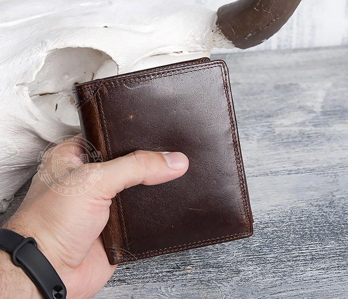 WL275-2 Мужской кошелек из гладкой натуральной кожи фото 11