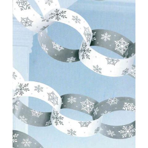 Гирлянда-колечки Снежинки серебро  3,96 м