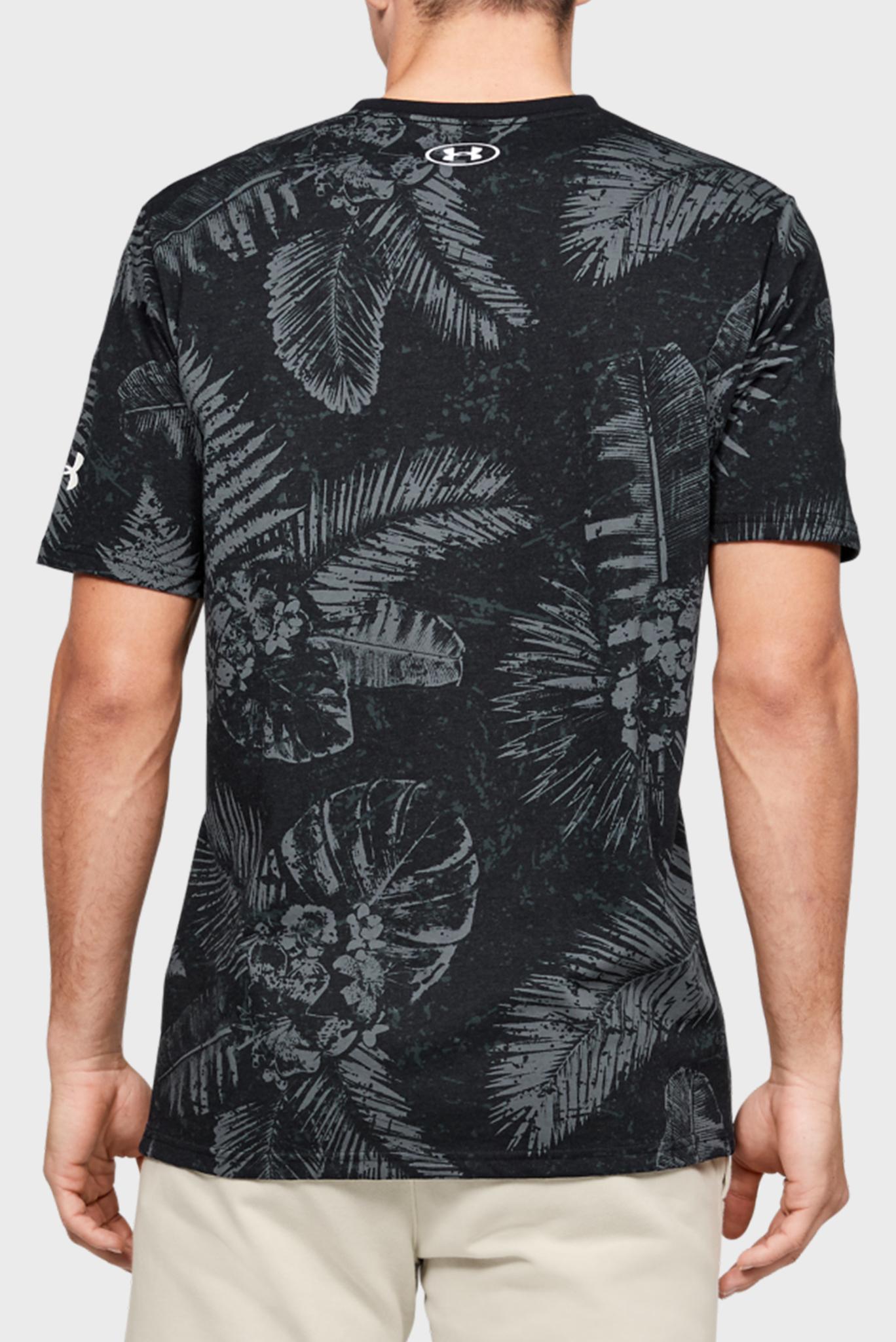 Мужская черная спортивная футболка с принтом Project Rock Aloha Camo SS Under Armour