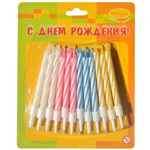 Свечи-мини 2-х цветные с держателями 6см 24шт