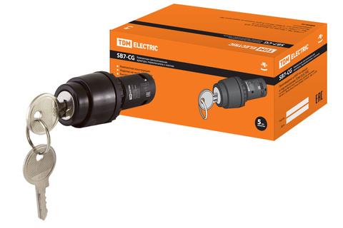 Переключатель с ключом на  3 положения с фиксацией SB7-CG33 d22мм  1з+1з черный TDM