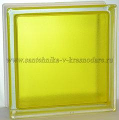Стеклоблок арктик окрашенный изнутри жёлтый 19x19x8