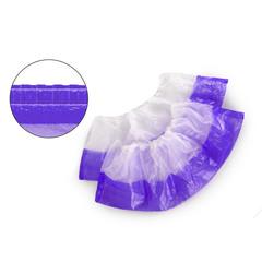 Бахилы одноразовые полиэтиленовые двухслойные текстурированные 3г бело-фиолетовый (50 пар в упаковке)
