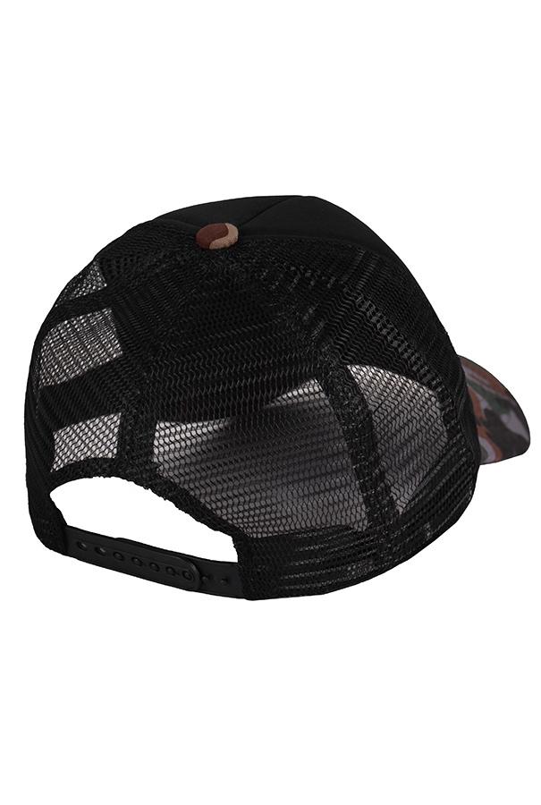 Бейсболка с сеткой черная и камуфляжным козырьком фото сзади