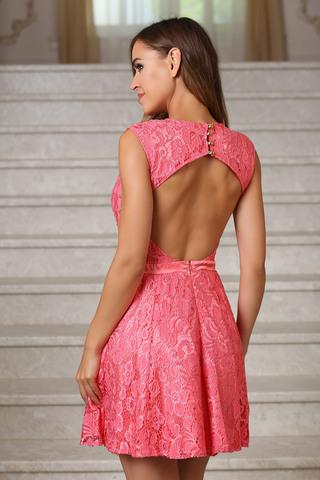 Коктейльное кружевное платье с открытой спиной, коралл 1