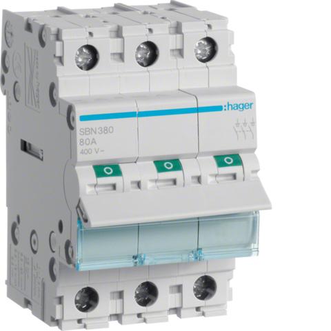 Выключатель-разъединитель (рубильник), 3P, Ie=80A 400В 50/60Гц, AC22A, Ui=500В, ширина 3M; арт. SBN380