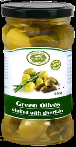 Натуральные зеленые оливки с корнишонами Супер Колоссал KORVEL стеклянная банка 290 гр