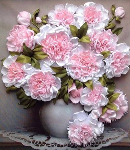 Алмазная Мозаика 40x50 Прекрасные пионы в белой вазе (арт. ТС3183 )