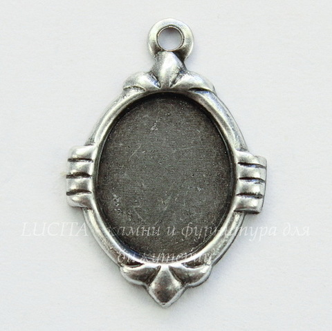 Сеттинг - основа - подвеска для камеи или кабошона 10х8 мм (оксид серебра)