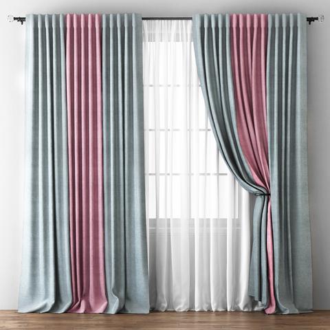 Комплект штор с подхватами Карин серо-розовый