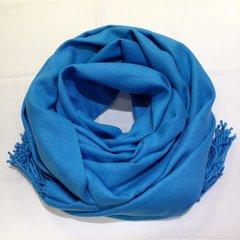 Кашемировый однотонный голубой палантин (8)