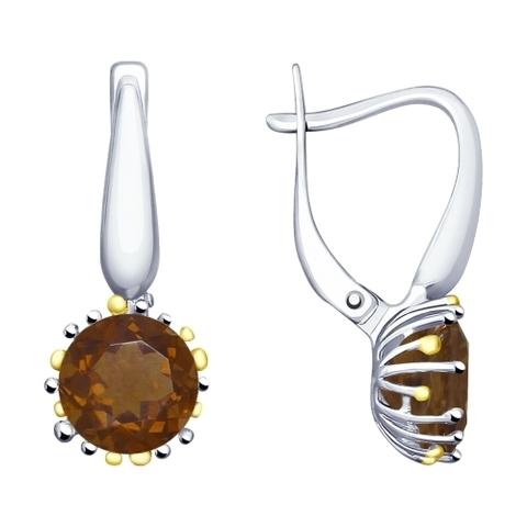 92021917 - Серебряные серьги с раух-топазами