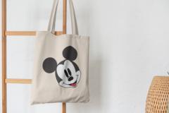Сумка-шоппер с принтом Микки Маус (Mickey Mouse) бежевая 002