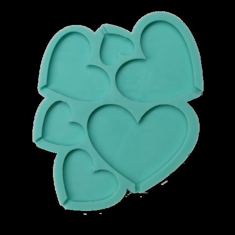 Форма силиконовая для леденцов Сердечки № 2 №65