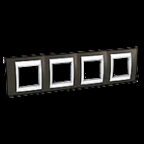 Рамка на 4 поста. Цвет Какао/Белый. Schneider electric Unica Хамелеон. MGU6.008.871