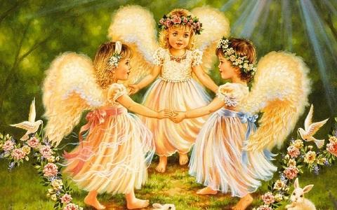 Алмазная Мозаика + Багет 40x50 Три ангелочка