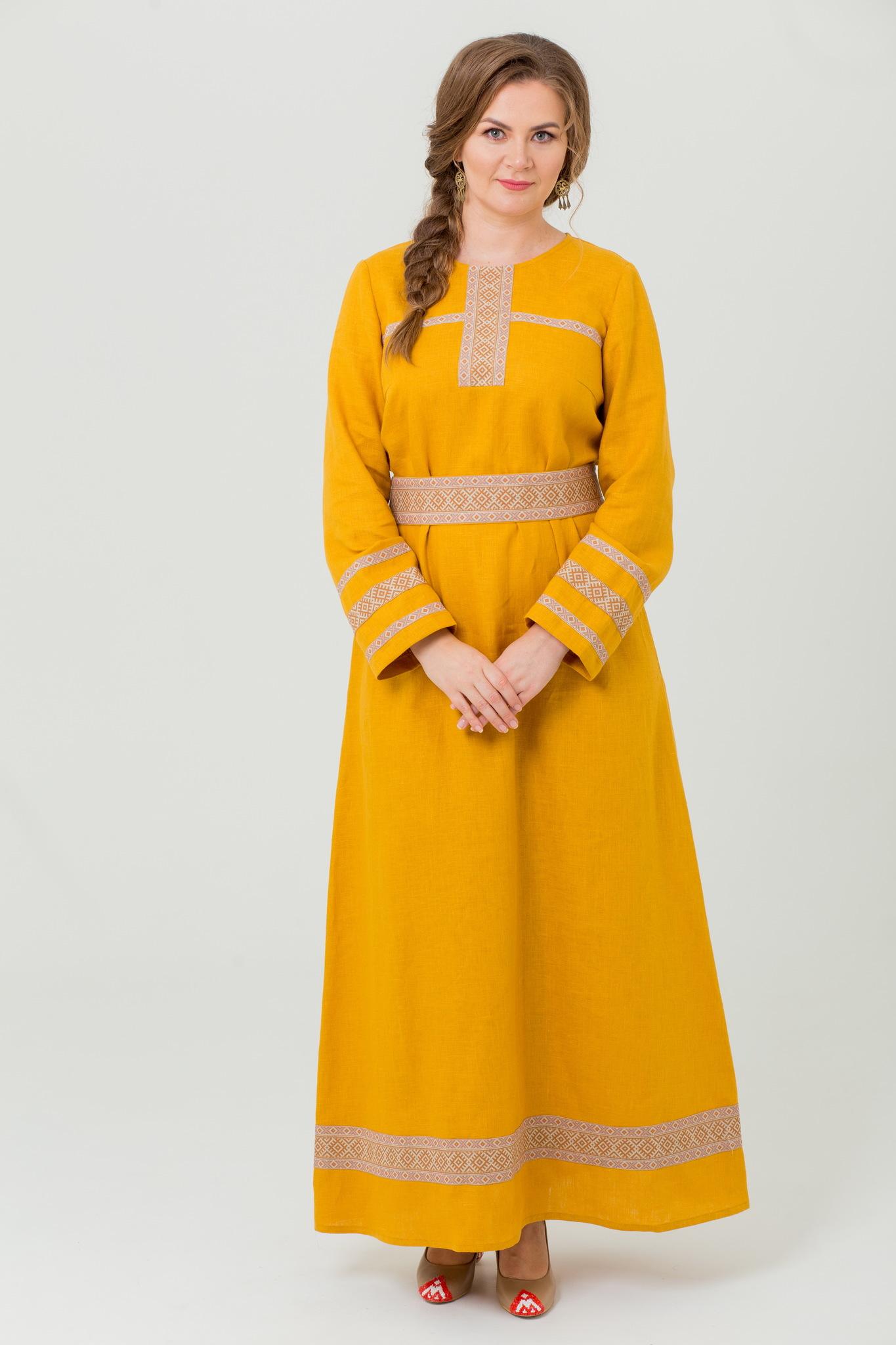 Льняное платье в русском народном стиле Горицвет