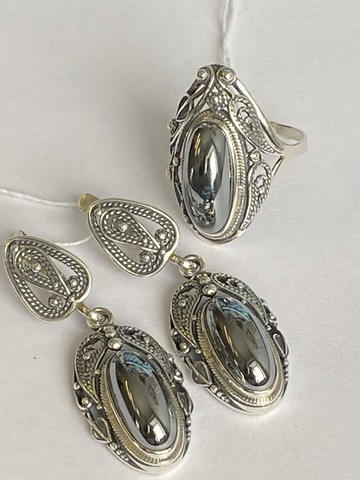 Винтаж (кольцо + серьги из серебра)