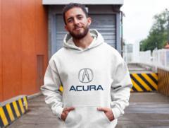 Мужская толстовка белая с капюшоном (худи, кенгуру) и принтом Акура (Acura) 001