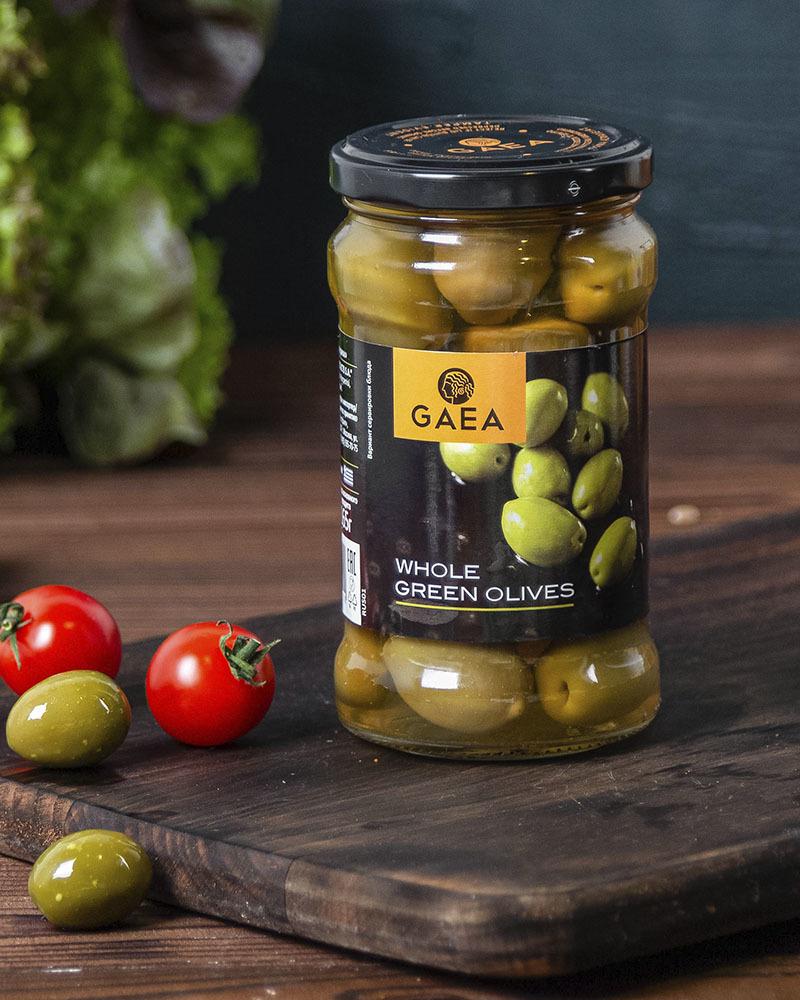 Оливки GAEA зеленые Халкидики с косточкой 300гр