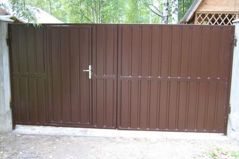 Распашные ворота с калиткой 3500Х2000 мм