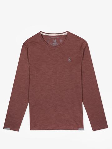 Long-sleeved crewneck burgundy t-shirt