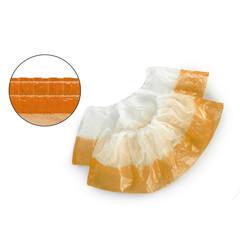 Бахилы одноразовые полиэтиленовые двухслойные текстурированные 4г бело-оранжевый (50 пар в упаковке)