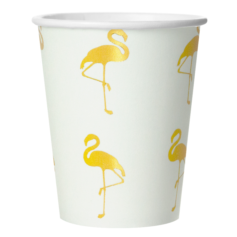 Стаканы (250 мл) Золотой фламинго, Белый, 6 шт.
